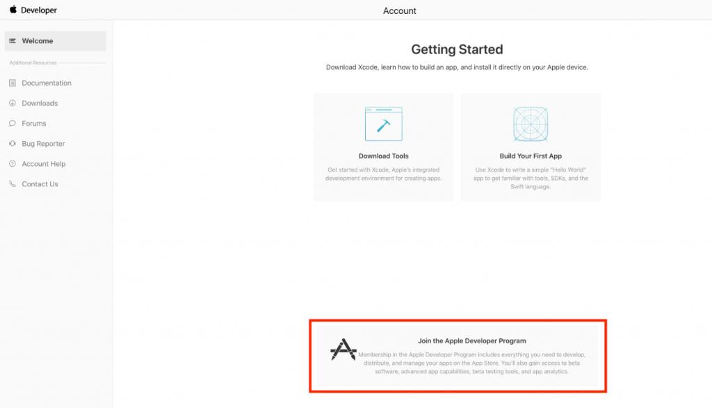 """Click """"Join the Apple Developer Program"""""""
