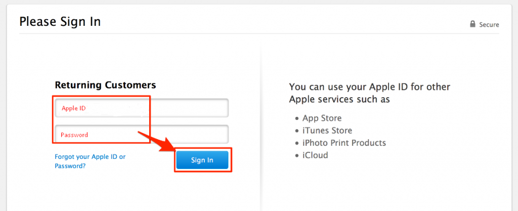 On the next page, sign in your Apple ID