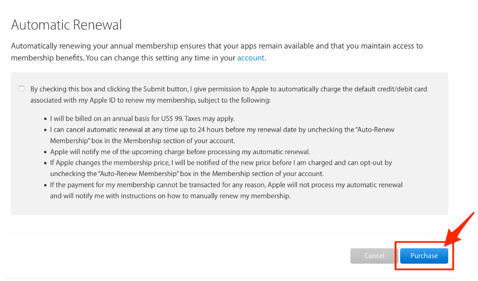 Decide if you want Automatic Renewal